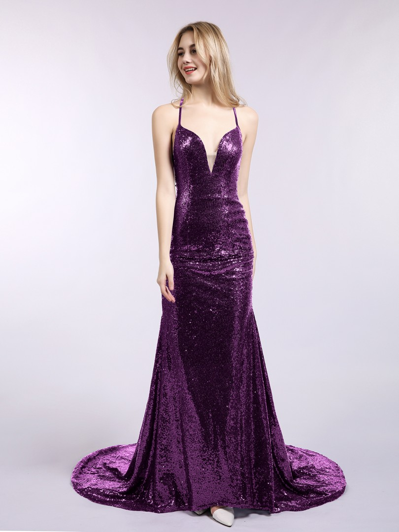 Trumpet/Mermaid Sequin Grape Criss-Cross Straps  Sweep/Brush Train V-neck Spaghetti Straps Mermaid Prom Dresses