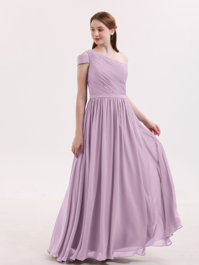 A-line Chiffon Wisteria Zipper Pleated Floor-length One Shoulder Short Chiffon Bridesmaid Dresses