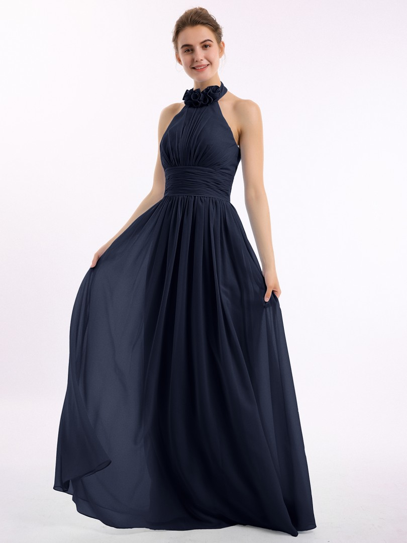 A-line Chiffon Emerald Backless Ruched, Flower Floor-length Halter Sleeveless New Arrivals
