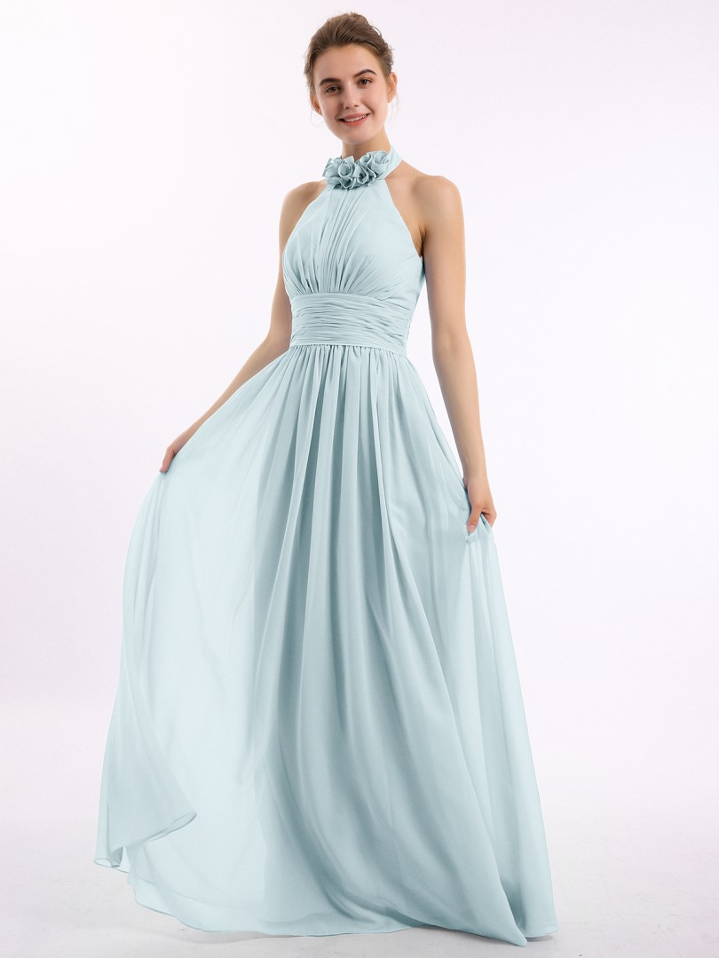 A-line Chiffon Emerald Backless Ruched, Flower Floor-length Halter Sleeveless Long Bridesmaid Dresses