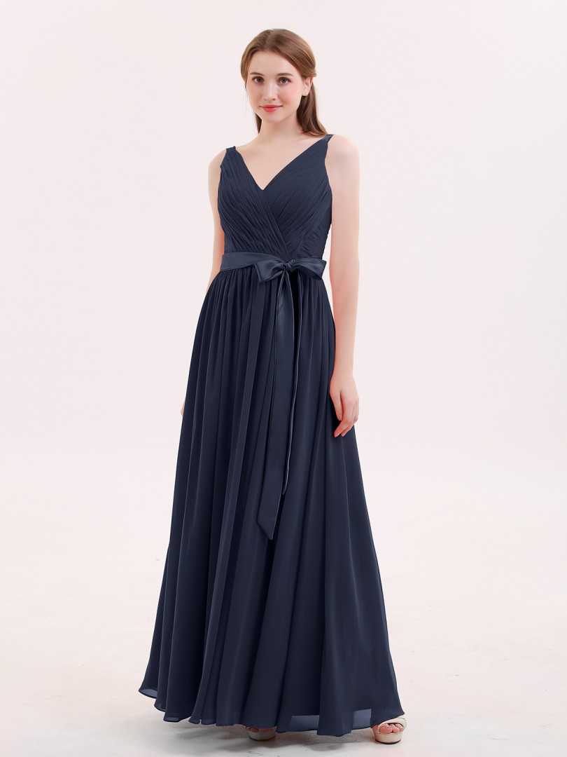 A-line Chiffon Red Zipper Sashes/Ribbons, Pleated Floor-length V-neck Sleeveless Long Bridesmaid Dresses
