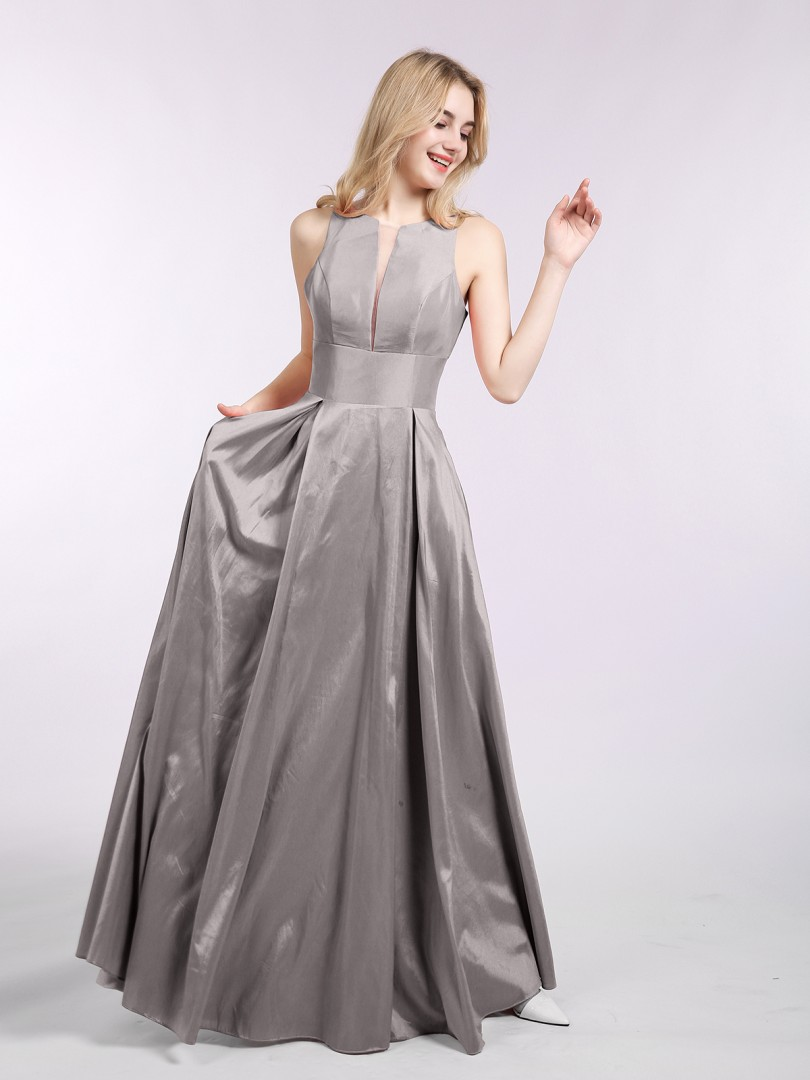 A-line Satin Silver Zipper Pocket Floor-length Scoop Sleeveless Prom Dresses