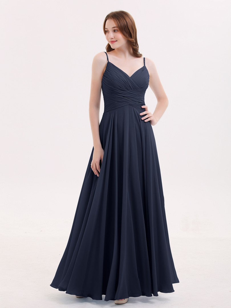 A-line Chiffon Peacock Zipper Beaded, Ruffle, Pleated Floor-length V-neck Spaghetti Straps Long Bridesmaid Dresses