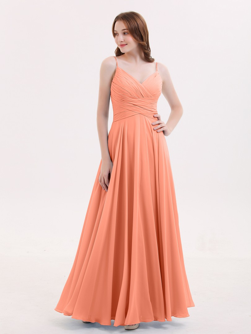 A-line Chiffon Peacock Zipper Beaded, Ruffle, Pleated Floor-length V-neck Spaghetti Straps Bridesmaid Dresses