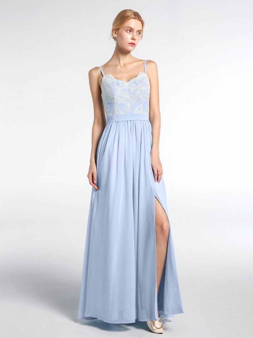A-line Chiffon Sky Blue Zipper Appliqued Floor-length Sweetheart Spaghetti Straps New Arrivals