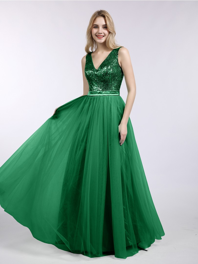 Dark Green Kelly Sequins and Tulle Long Dress with V-neck | BABARONI