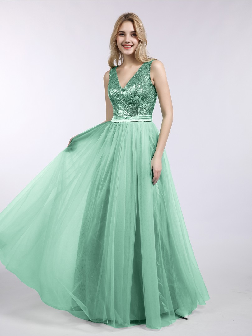 A-line Sequin Mint Green Zipper Pleated Floor-length V-neck Sleeveless Long Bridesmaid Dresses
