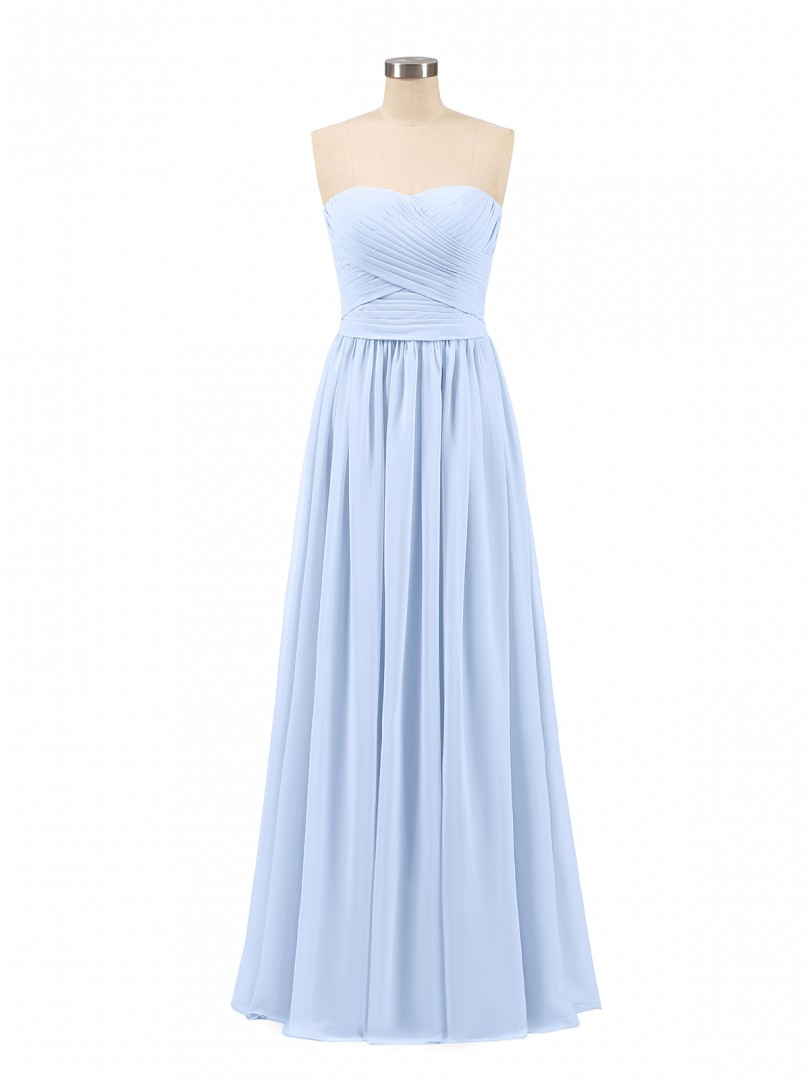 A-line Chiffon Coral Zipper Ruched, Pleated Floor-length Sweetheart Sleeveless Long Bridesmaid Dresses