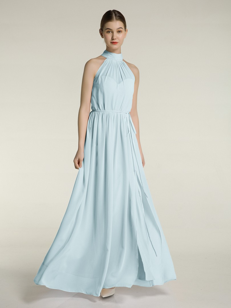 A-line Chiffon Mulberry Zipper Bow, Ruched, Pleated Floor-length High Neck Sleeveless Long Bridesmaid Dresses