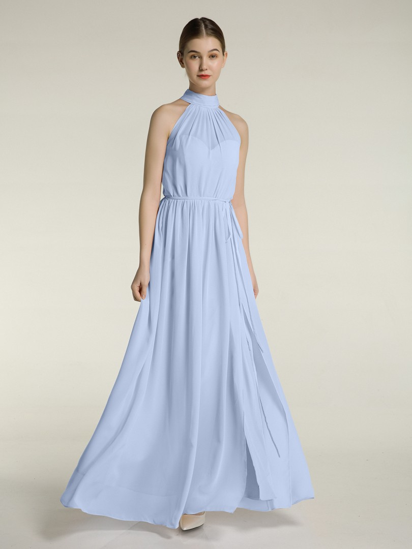 A-line Chiffon Mulberry Zipper Bow, Ruched, Pleated Floor-length High Neck Sleeveless New Arrivals