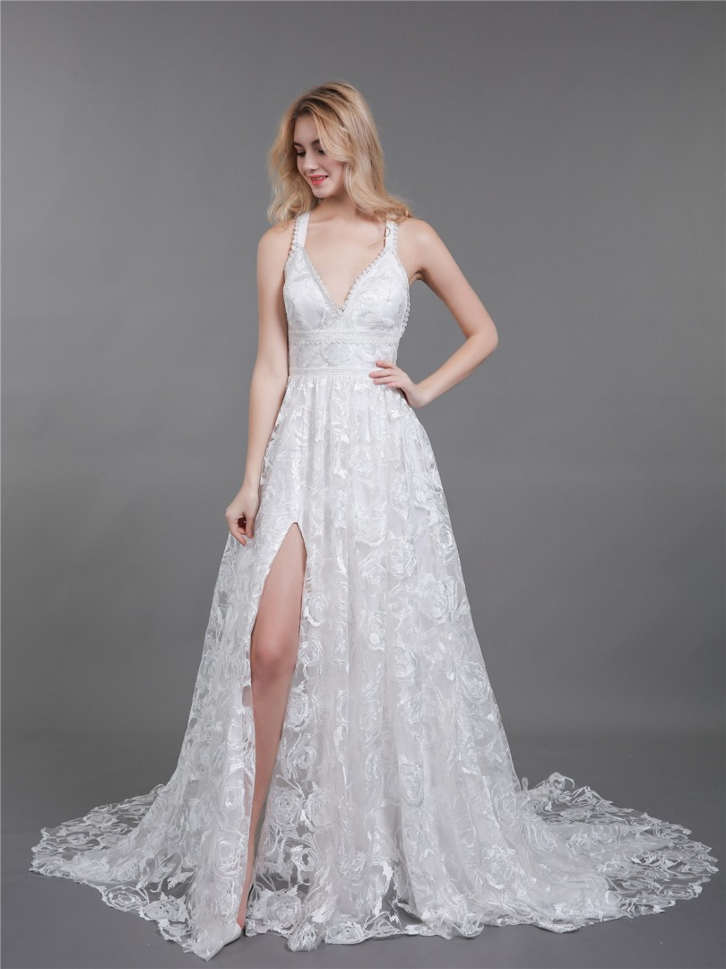 A-line Lace Ivory Criss-Cross Straps Lace Sweep/Brush Train Halter Sleeveless Beach Wedding Dresses