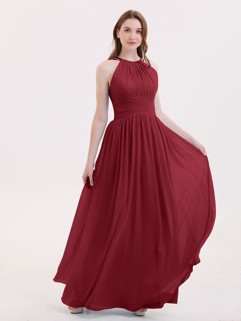 d3a299031be Burgundy Kristin Double Strap Halter Long Chiffon Gowns