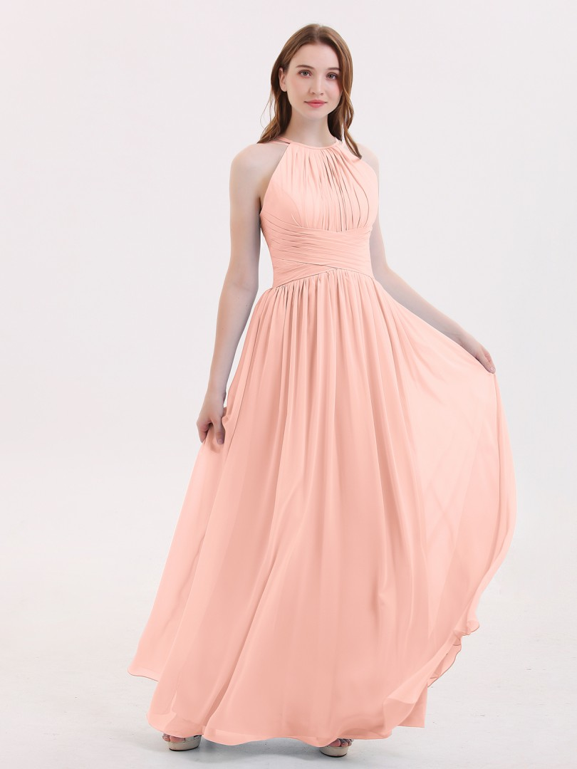 A-line Chiffon Sky Blue Zipper Ruched, Pleated Floor-length Halter Sleeveless Long Bridesmaid Dresses
