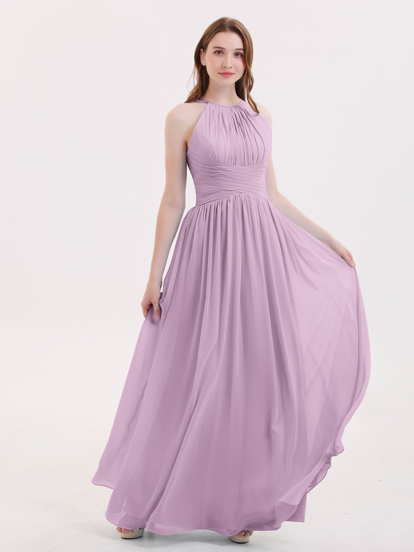 A-line Chiffon Sky Blue Zipper Ruched, Pleated Floor-length Halter Sleeveless Best Sellers