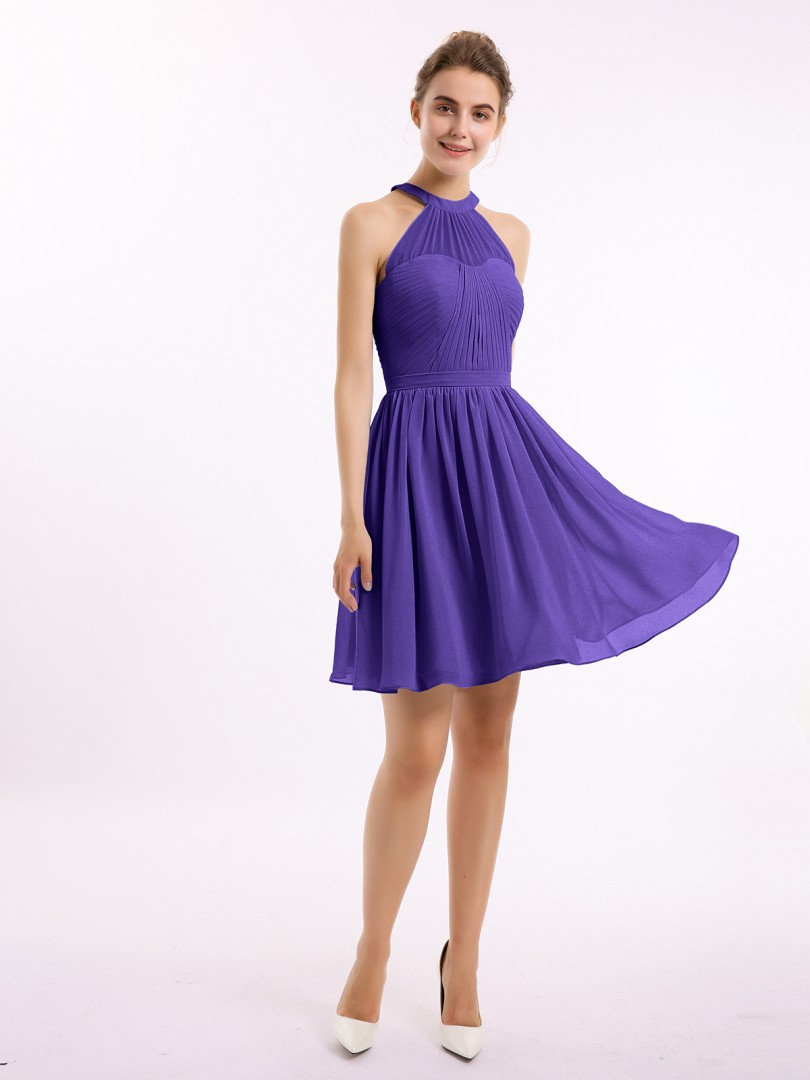 A-line Chiffon Regency Zipper Belt, Ruched Short/Mini Halter Sleeveless Short Bridesmaid Dresses