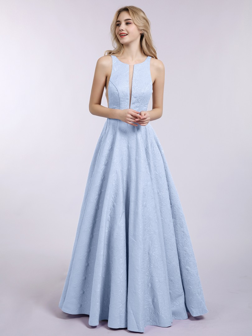 A-line Satin Sky Blue Zipper Pleated Floor-length Scoop Sleeveless Sexy Prom Dresses