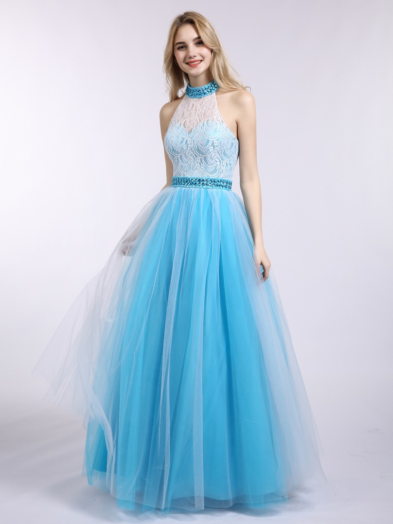 A-line Tulle Pool Backless  Floor-length Halter Sleeveless Prom Dresses