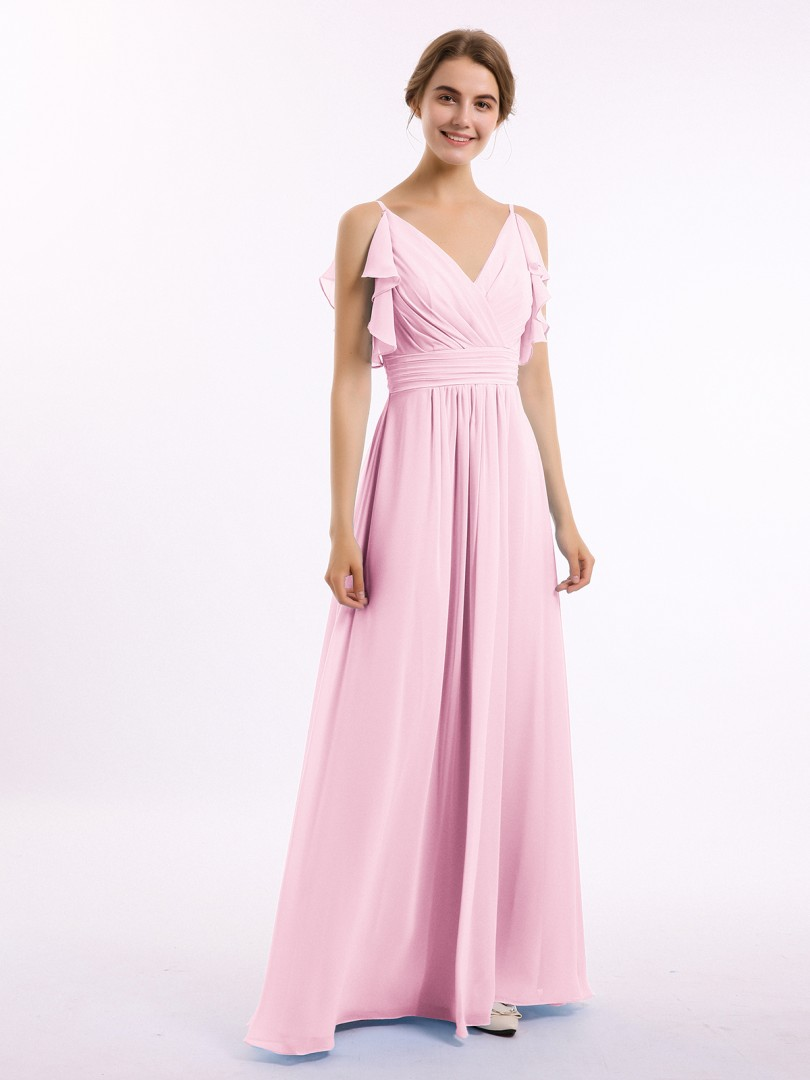 A-line Chiffon Sunset Zipper Belt, Ruffle Floor-length V-neck Spaghetti Straps Bridesmaid Dresses