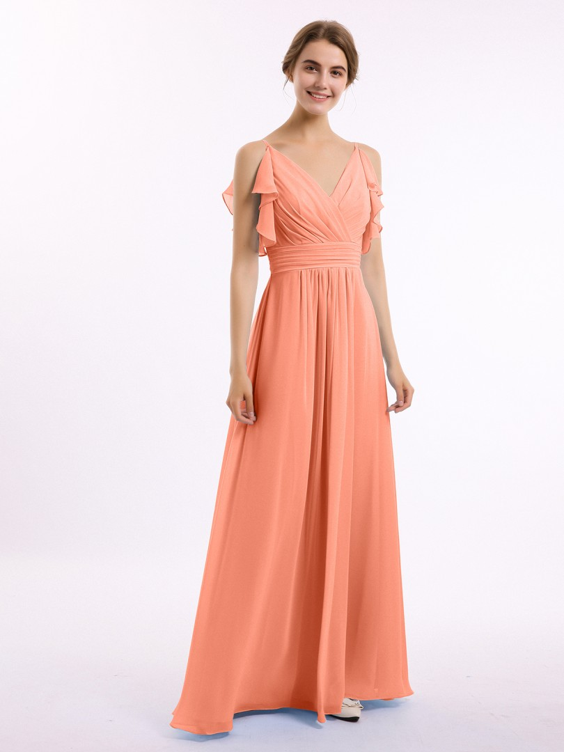 A-line Chiffon Sunset Zipper Belt, Ruffle Floor-length V-neck Spaghetti Straps Long Bridesmaid Dresses
