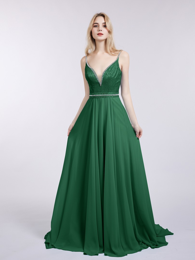 A-line Chiffon Pool Backless Beaded Sweep/Brush Train V-neck Straps New Arrivals