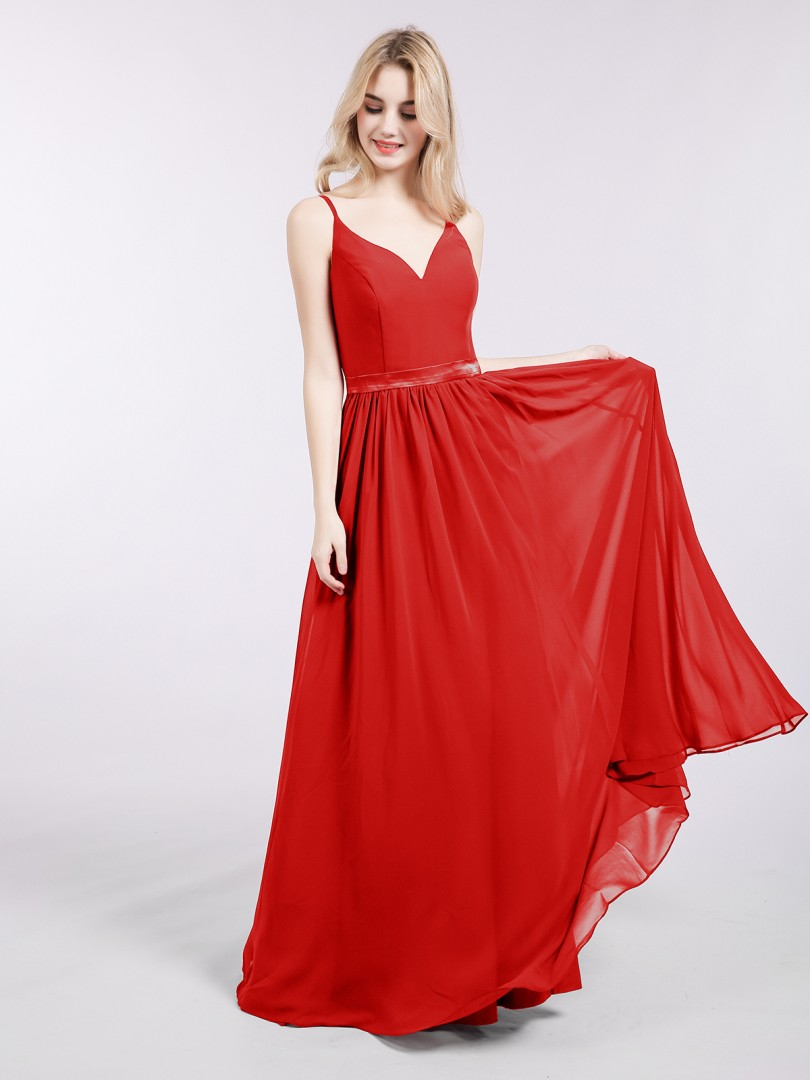 A-line Chiffon Red Zipper Sash Floor-length V-neck Spaghetti Straps Long Bridesmaid Dresses