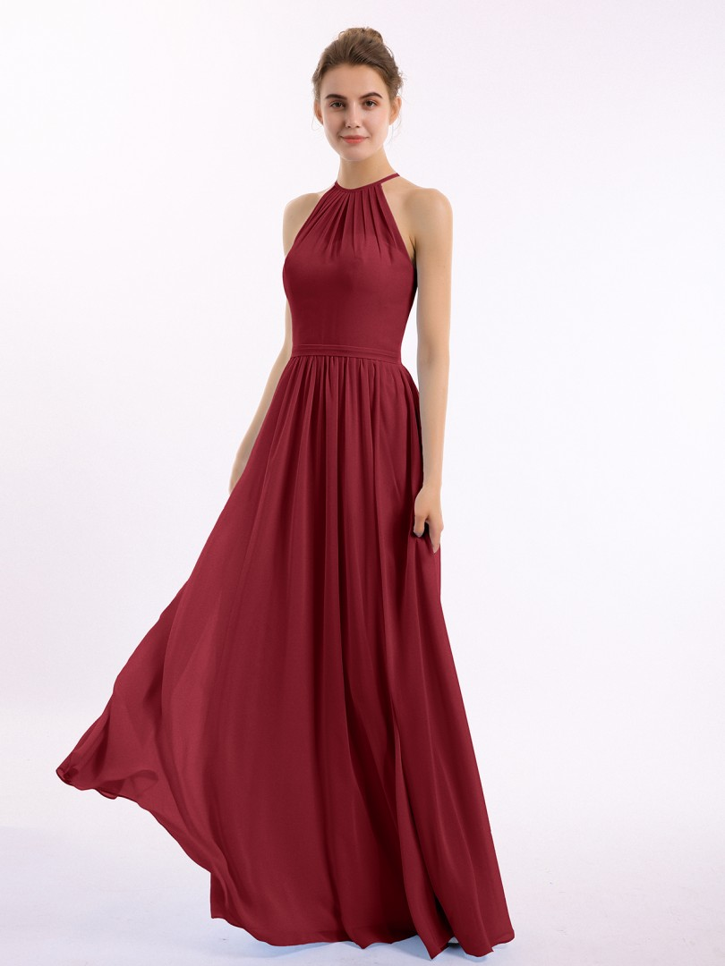 A-line Chiffon Peacock Backless Belt, Ruched Floor-length Halter Sleeveless Long Bridesmaid Dresses