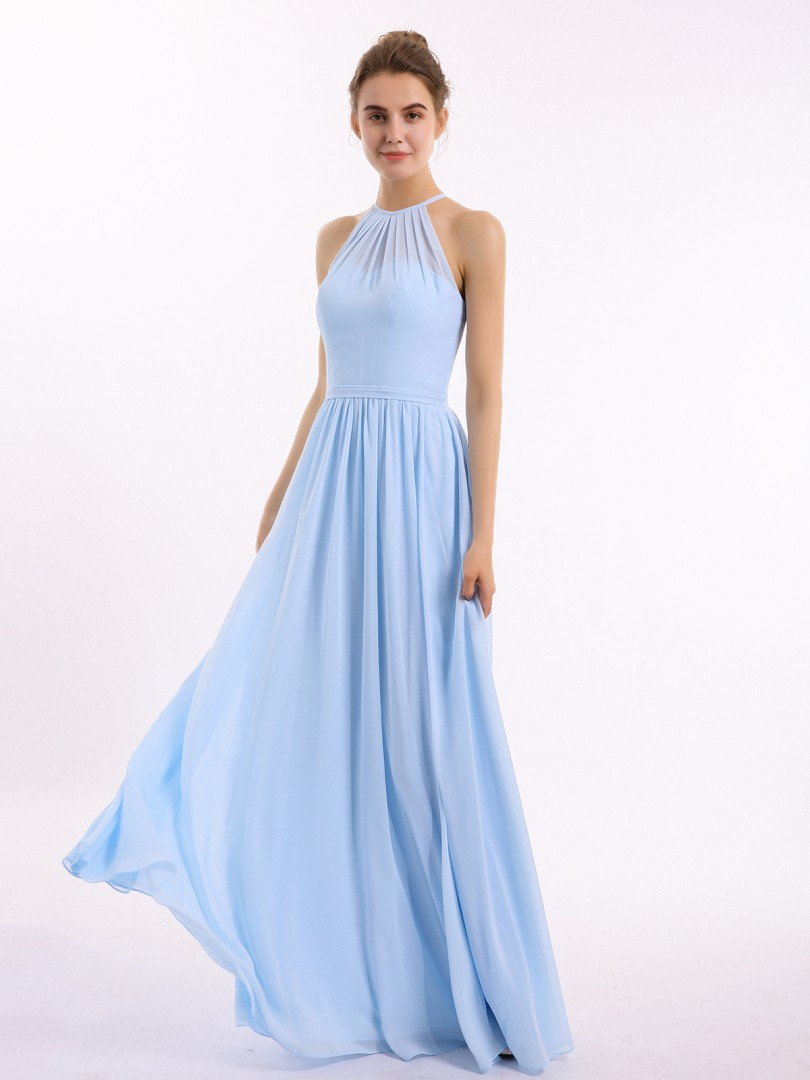 A-line Chiffon Peacock Backless Belt, Ruched Floor-length Halter Sleeveless New Arrivals