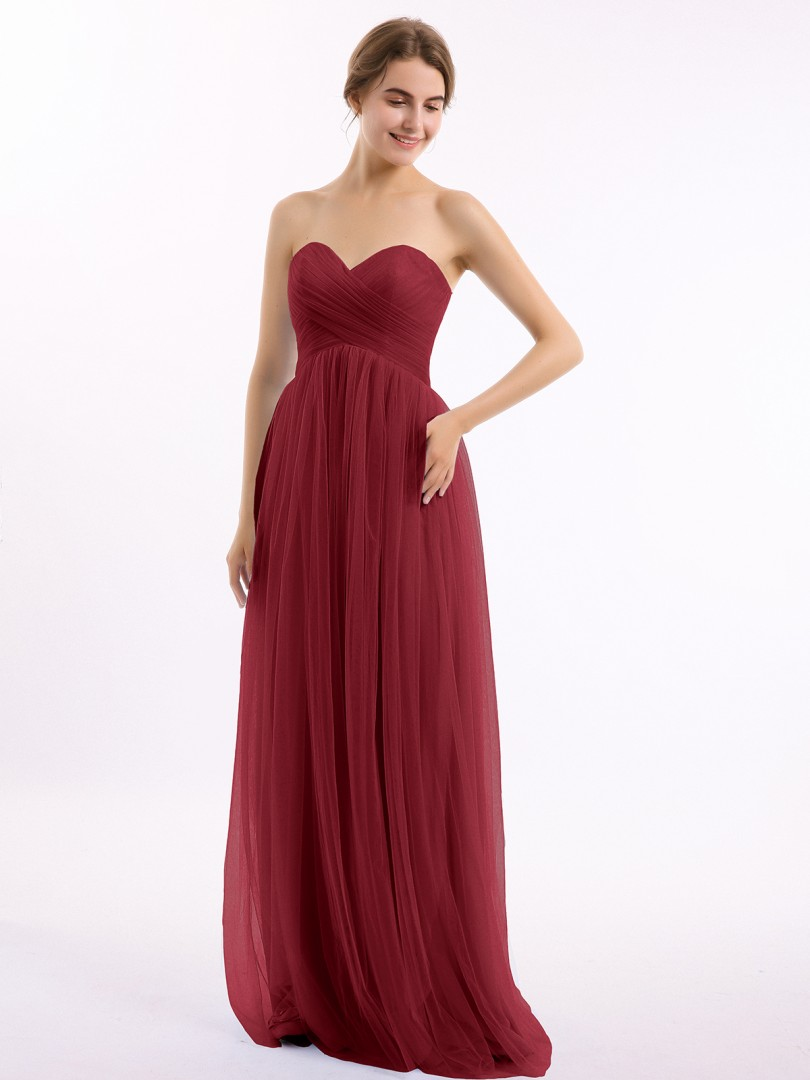 A-line Tulle Burgundy Zipper Ruched, Pleated Floor-length Sweetheart Sleeveless Bridesmaid Dresses