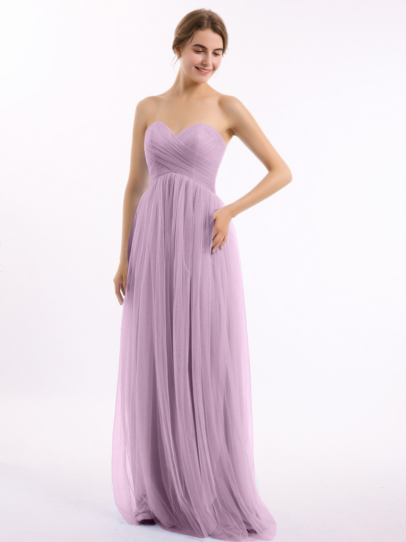 A-line Tulle Burgundy Zipper Ruched, Pleated Floor-length Sweetheart Sleeveless Tulle Bridesmaid Dresses