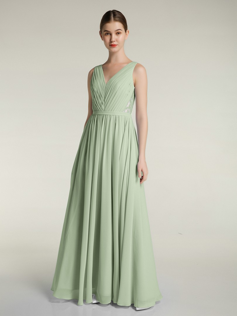 A-line Chiffon Lilac Zipper Ruched, Pleated Floor-length V-neck Sleeveless New Arrivals