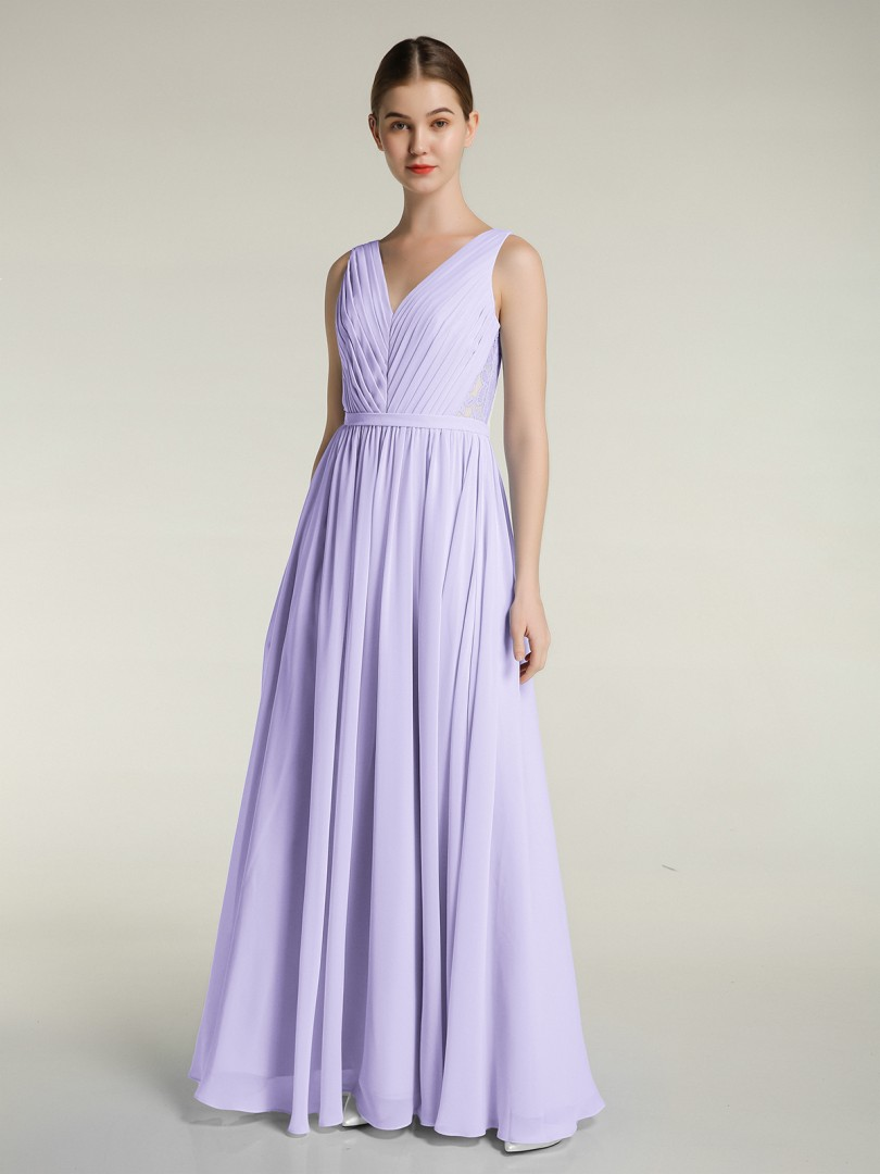 A-line Chiffon Lilac Zipper Ruched, Pleated Floor-length V-neck Sleeveless Bridesmaid Dresses