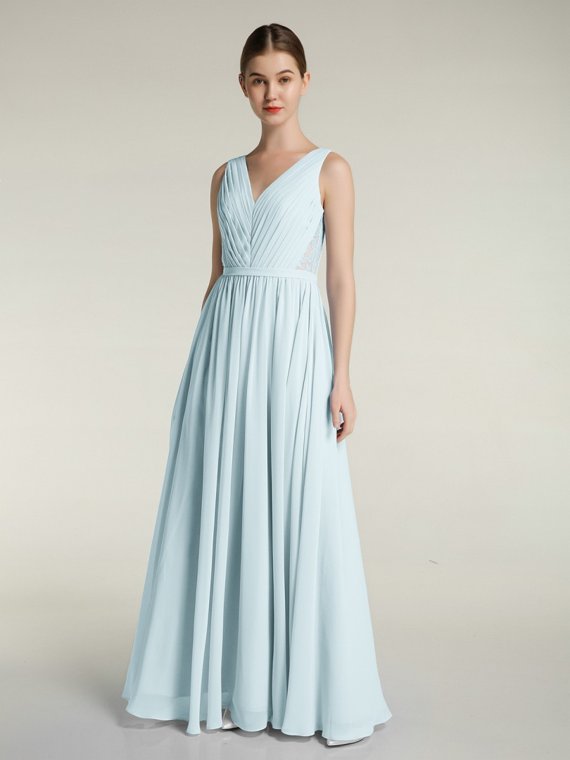 A-line Chiffon Lilac Zipper Ruched, Pleated Floor-length V-neck Sleeveless Long Bridesmaid Dresses