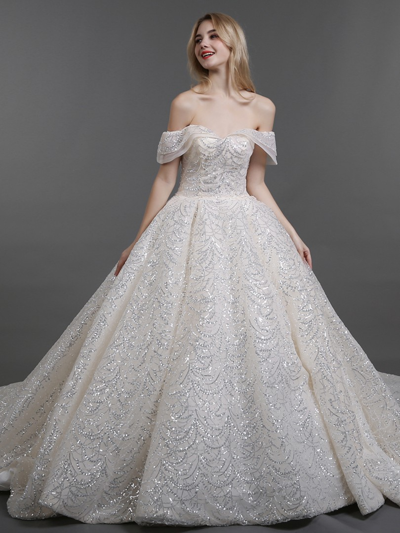 Ball Gown Tulle Champagne Lace-up Beaded Chapel train Off-the-shoulder Sleeveless New Arrivals