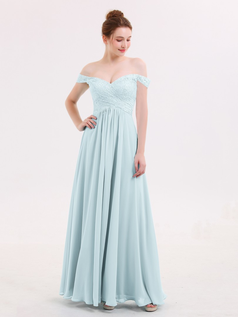 d4be280a794 Mist Lillian Off Shoulder Chiffon And Lace Empire Dress
