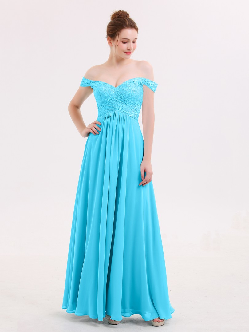 Empire Chiffon Pool Zipper Lace, Pleated Floor-length Off-the-shoulder Sleeveless Prom Dresses