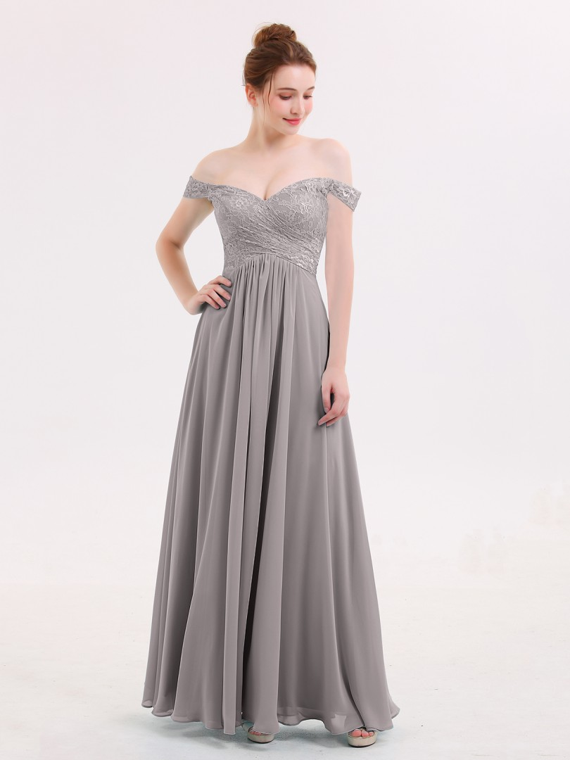 Empire Chiffon Pool Zipper Lace, Pleated Floor-length Off-the-shoulder Sleeveless Long Bridesmaid Dresses