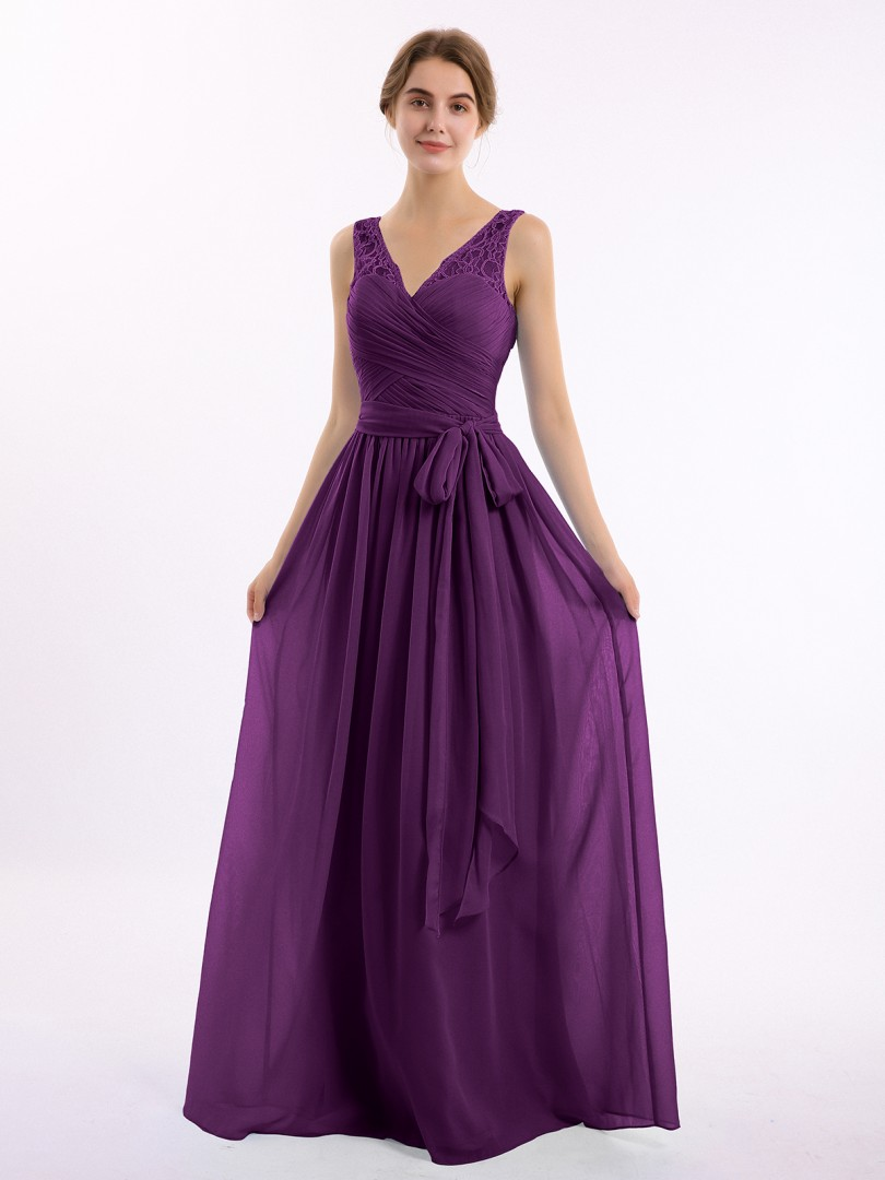 A-line Chiffon Grape Zipper Bow, Lace, Ruched Floor-length V-neck Sleeveless New Arrivals
