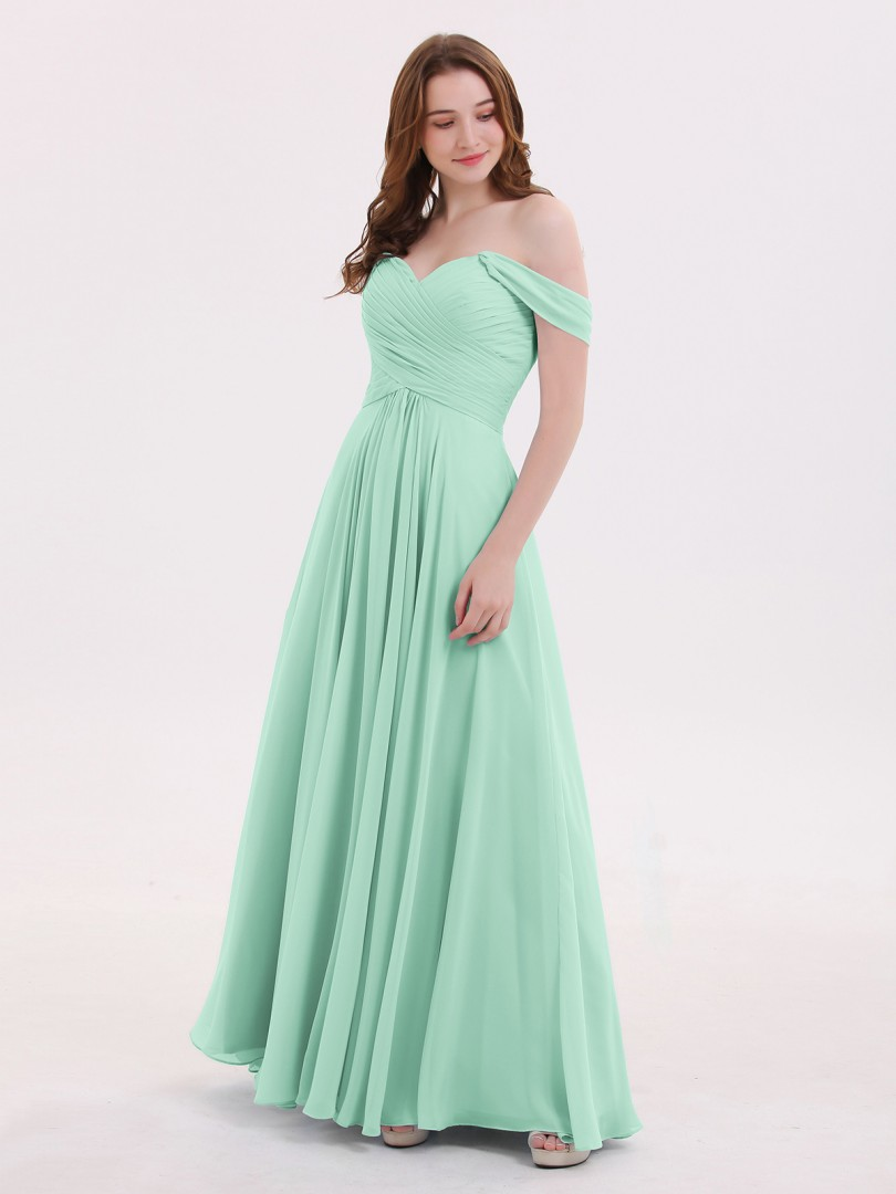 Empire Chiffon Sky Blue Zipper Ruched, Pleated Floor-length Off-the-shoulder Cap Sleeve New Arrivals