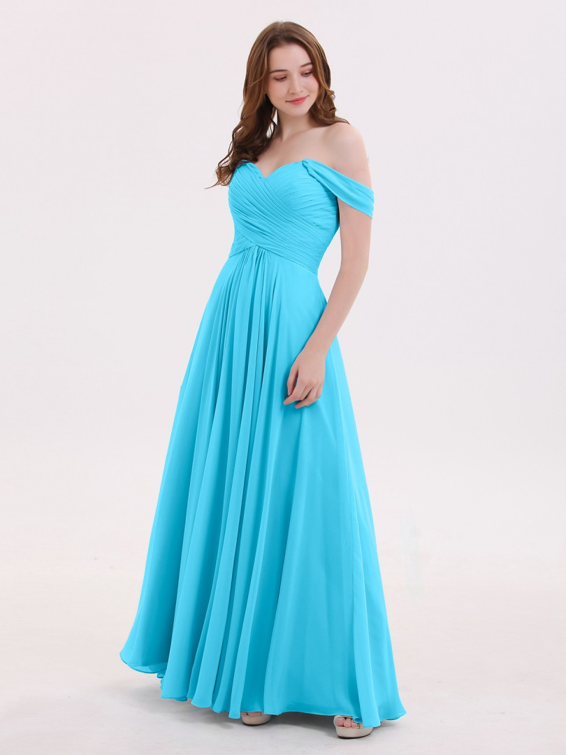Empire Chiffon Sky Blue Zipper Ruched, Pleated Floor-length Off-the-shoulder Cap Sleeve Long Bridesmaid Dresses