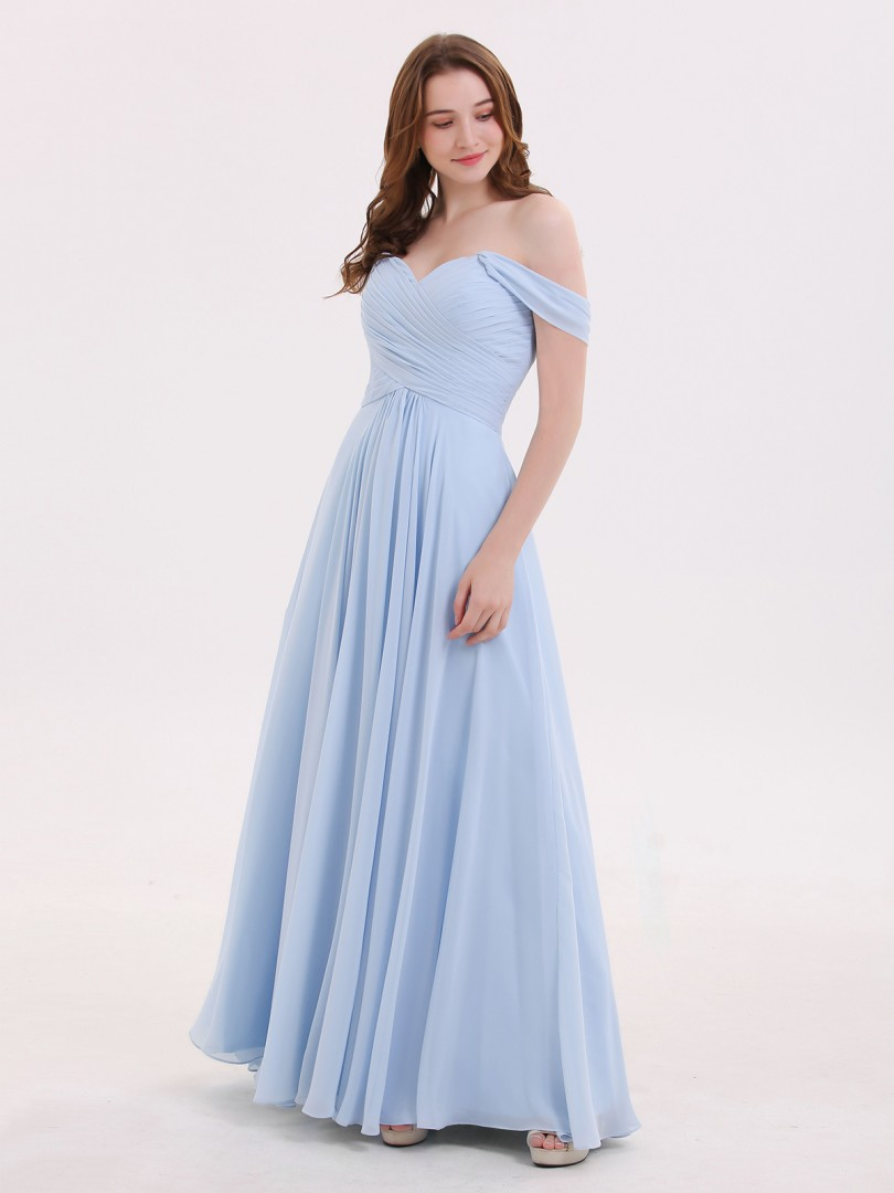 Empire Chiffon Sky Blue Zipper Ruched, Pleated Floor-length Off-the-shoulder Cap Sleeve Chiffon Bridesmaid Dresses