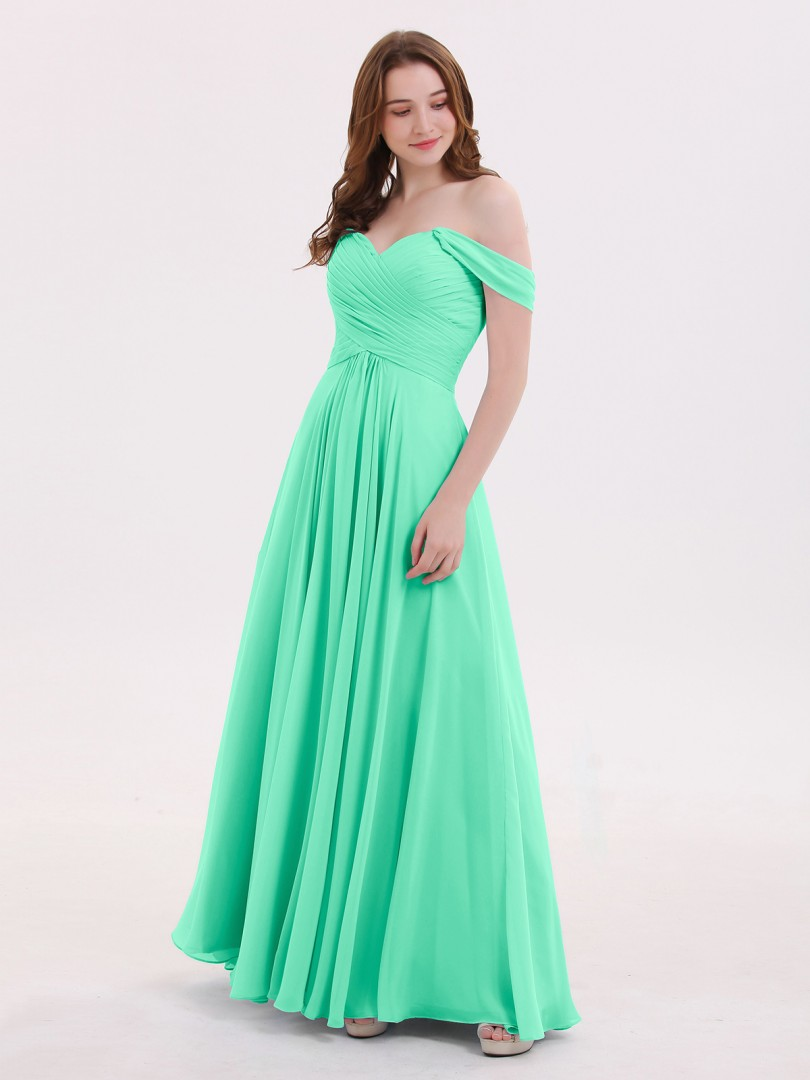 Empire Chiffon Sky Blue Zipper Ruched, Pleated Floor-length Off-the-shoulder Cap Sleeve Bridesmaid Dresses