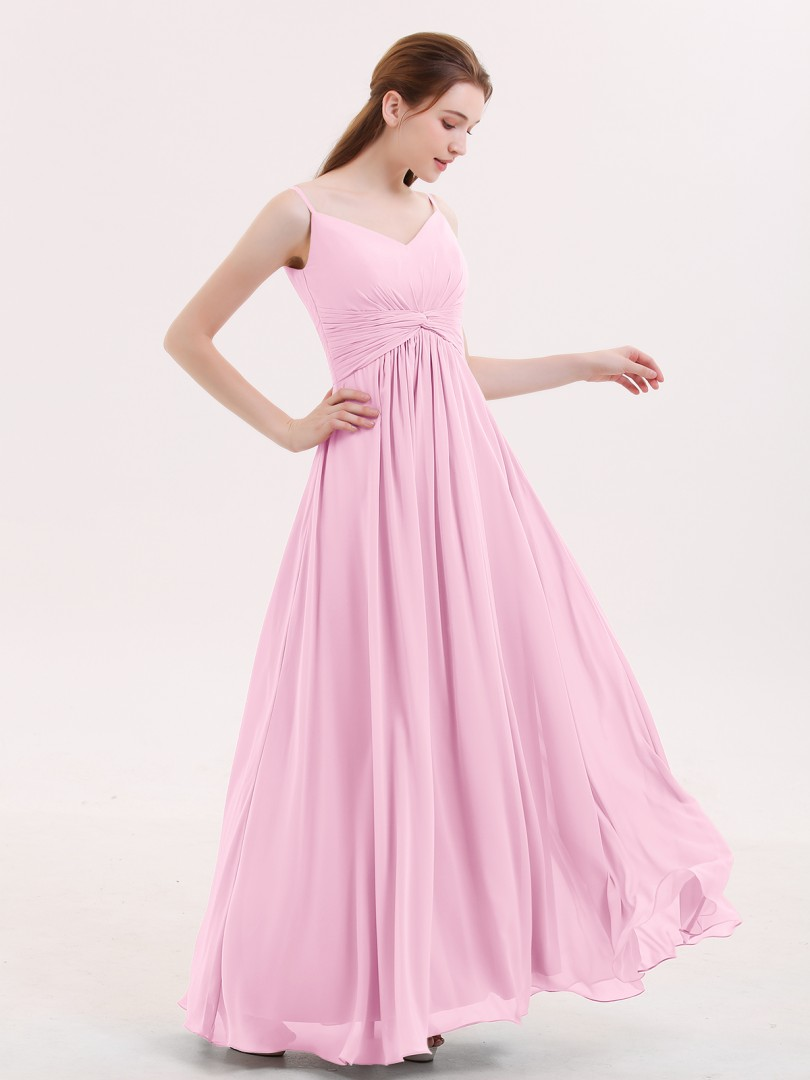 Empire Chiffon Mist Zipper Ruched, Pleated Floor-length V-neck Spaghetti Straps Bridesmaid Dresses