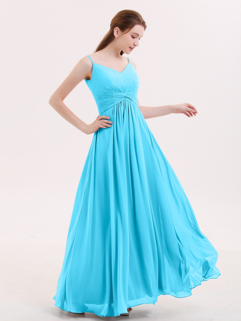 Empire Chiffon Mist Zipper Ruched, Pleated Floor-length V-neck Spaghetti Straps Long Bridesmaid Dresses