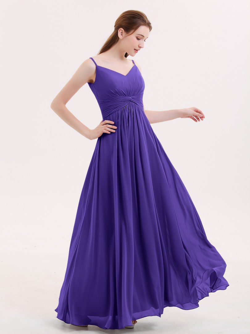 Empire Chiffon Mist Zipper Ruched, Pleated Floor-length V-neck Spaghetti Straps Chiffon Bridesmaid Dresses