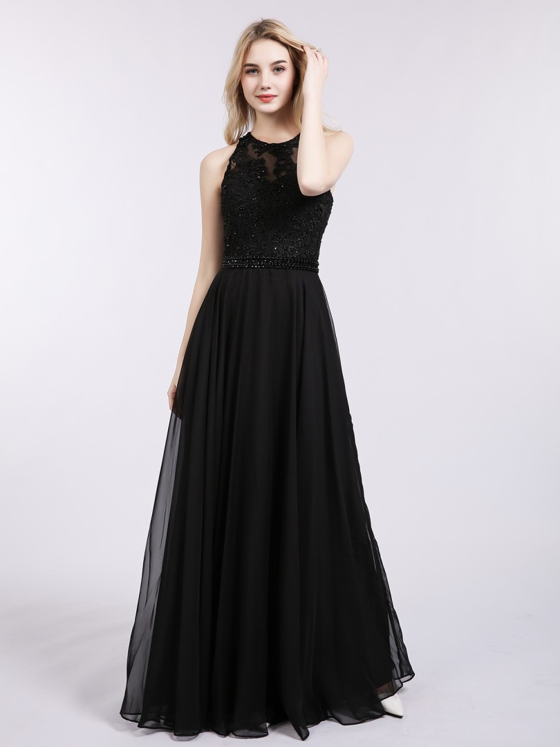A-line Chiffon Black Zipper Appliqued, Beaded Floor-length Halter Sleeveless Prom Dresses