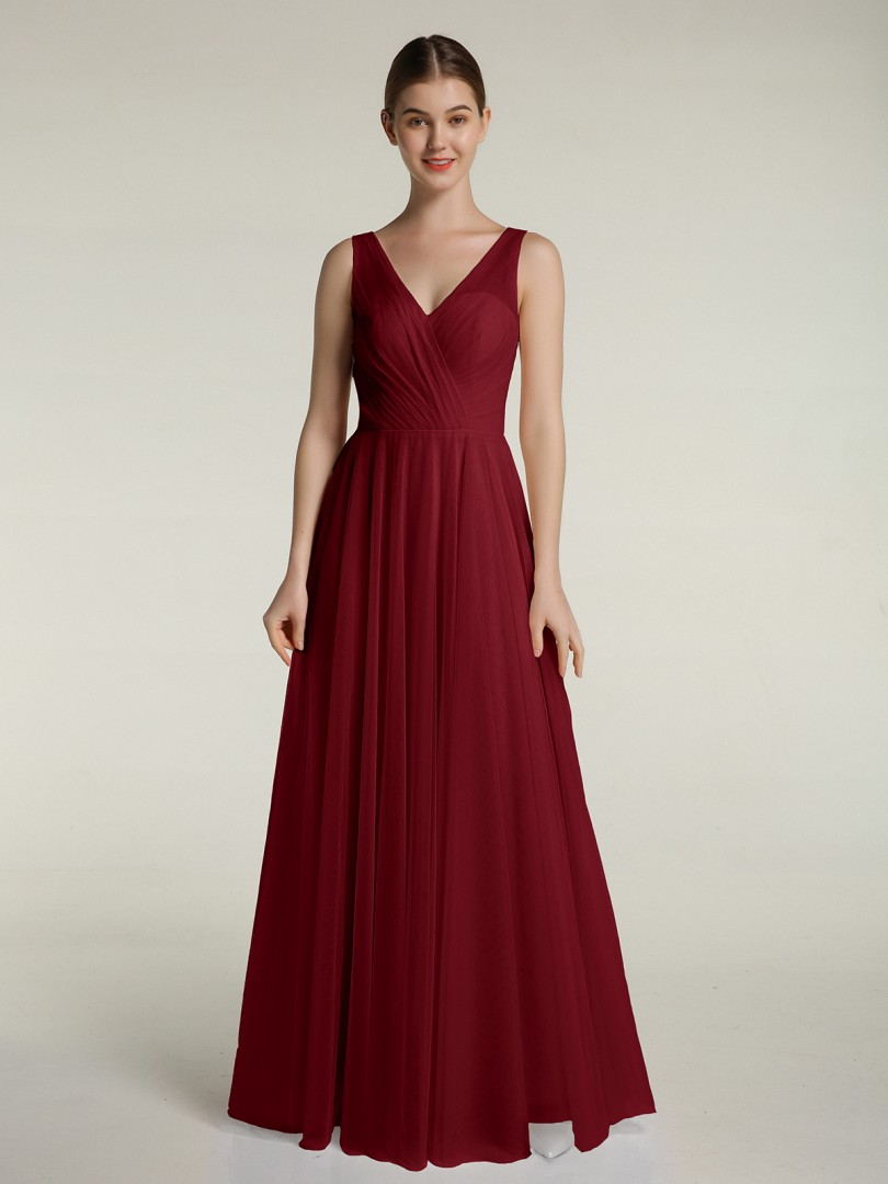 A-line Tulle Burgundy Zipper Pleated Floor-length V-neck Sleeveless New Arrivals