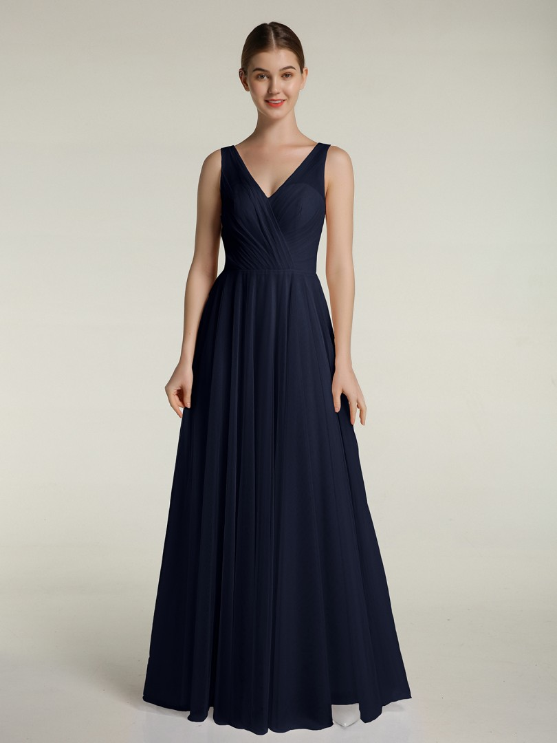 A-line Tulle Dark Navy Zipper Pleated Floor-length V-neck Sleeveless New Arrivals