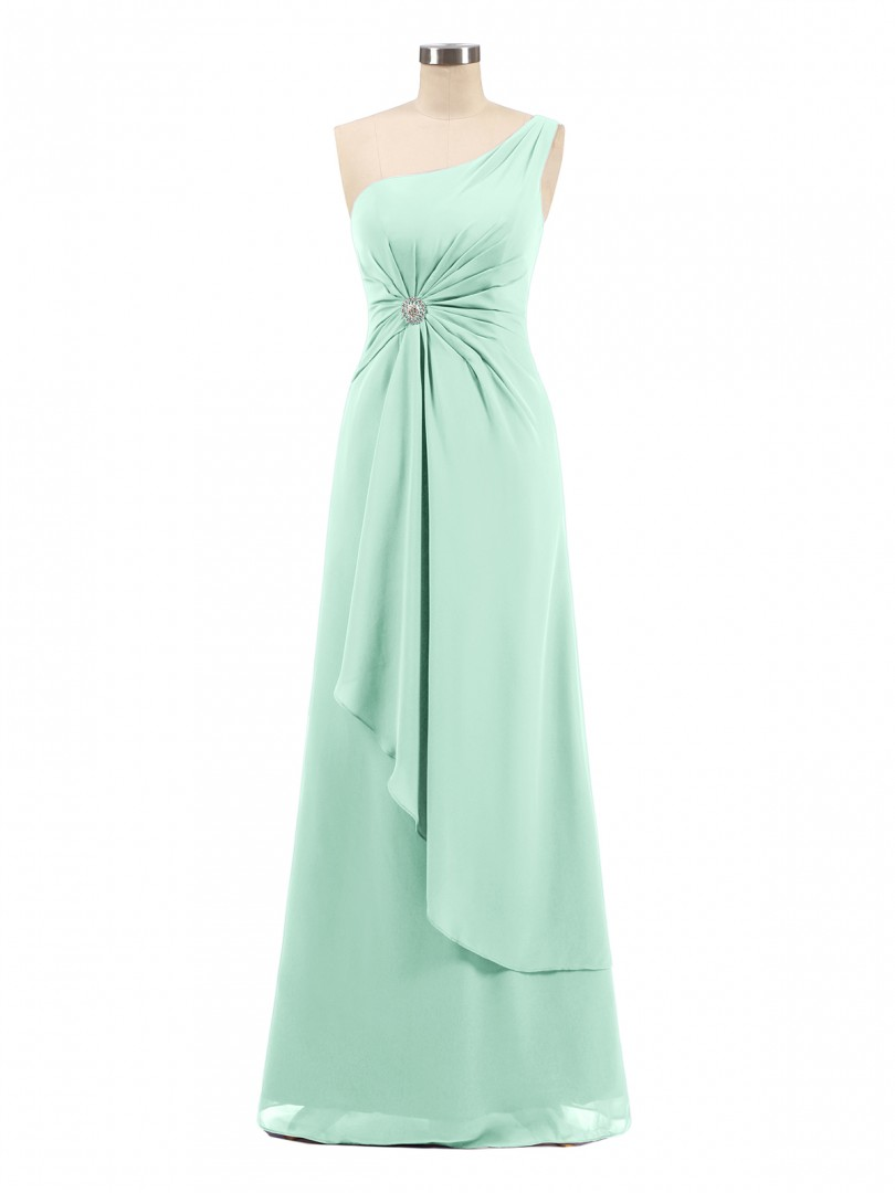 A-line Chiffon Regency Zipper Rhinestone, Ruched Floor-length One Shoulder Sleeveless Long Bridesmaid Dresses