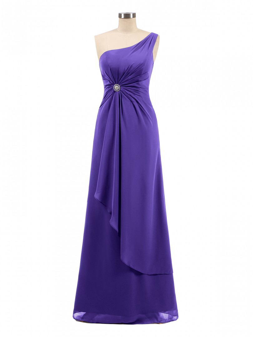 A-line Chiffon Regency Zipper Rhinestone, Ruched Floor-length One Shoulder Sleeveless Bridesmaid Dresses