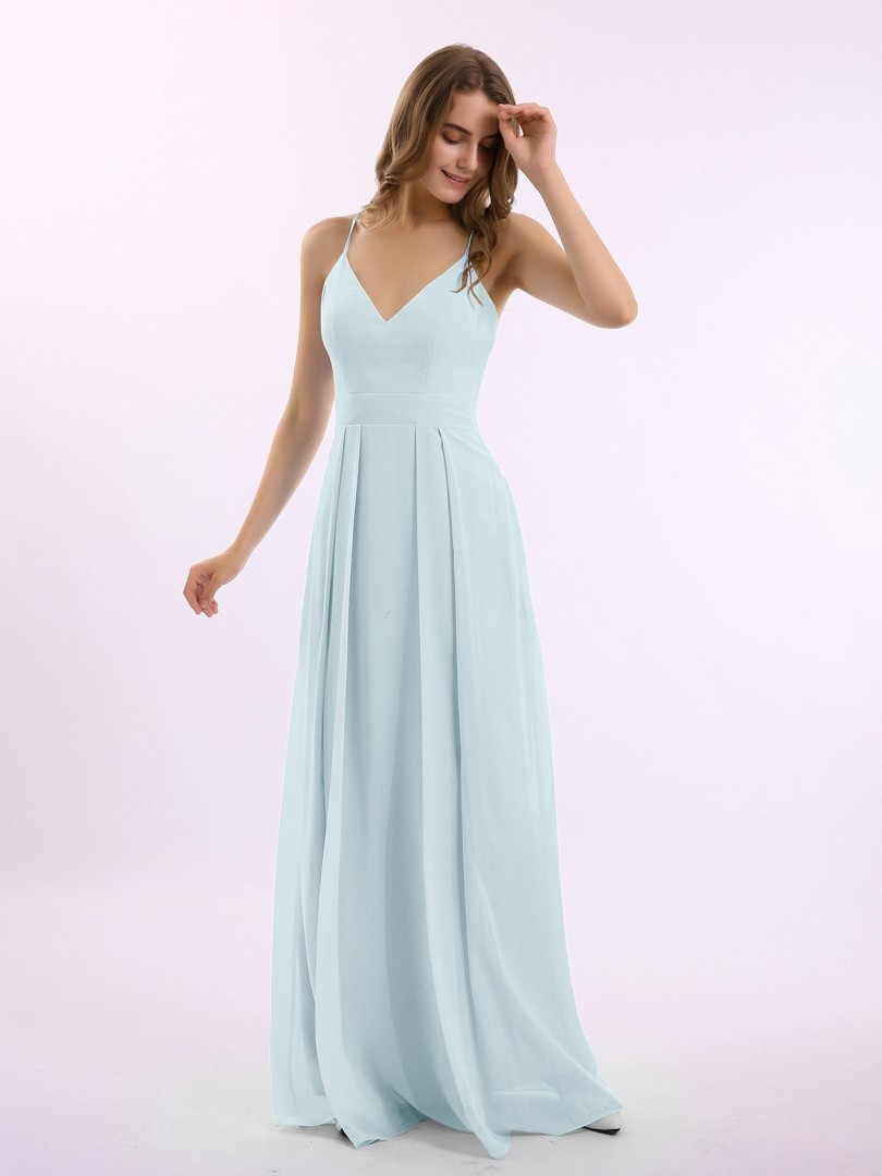 A-line Chiffon Tahiti Criss-Cross Straps Pleated Floor-length V-neck Spaghetti Straps New Arrivals